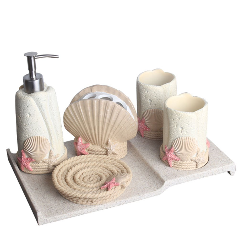 Amazon Com Creative Ocean Shell Theme Bathroom Accessories Set 6 Piece Unique Bathroom Gift Set Includes Soap Dispenser Toothbrush Holder Tumbler Tray And Soap Dish Home Kitchen