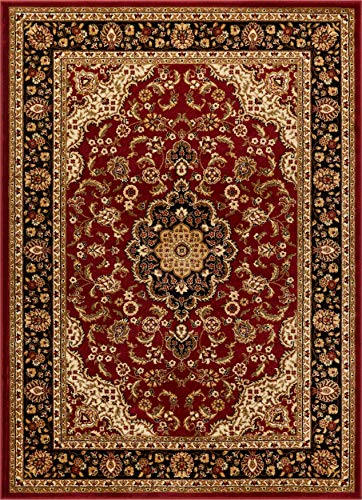 "Noble Medallion Red Persian Floral Oriental Formal Traditional Area Rug 8x10 8x11 ( 7'10"" x 9'10"" ) Easy to Clean Stain Fade Resistant Shed Free Modern Contemporary Soft Living Dining Room Rug"