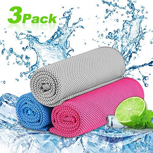 Nasharia Cooling Towel für Sport & Fitness,3 Pack Kühlung Handtuch/Kühltuch Kühlendes Handtuch Mikrofaser Handtuch für Yoga Reise Climb Golf Fußball Tennis & Outdoor Sports