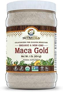 Nutrigold Organic Maca Powder Gelatinized, Maca Gold, 1 lb, Peruvian, Raw, Organic, Non-GMO, 2500 MG