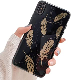 ooooops iPhone Xs Max Cool Case for Women & Men, Black & White Marble Pattern with Golden Feather Design, Slim Fit Soft TPU Full-Body Protective Cover Case for iPhone Xs Max 6.5'' (Black Marble)