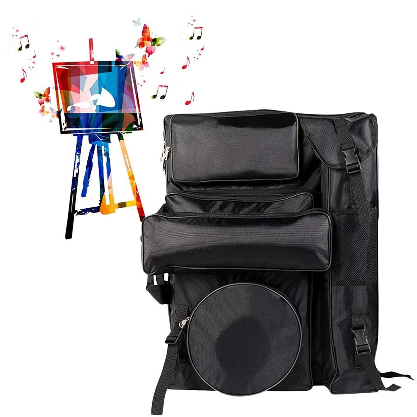 学習者血色の良い共感するイーゼルバッグアートポータブル用品アクセサリーキャンバススケッチツールをペイントする学生 SHANCL (Color : Black)