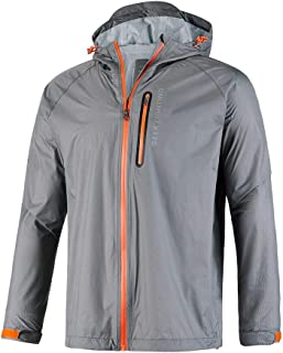 GEEK LIGHTING Men's Waterproof Hooded Rain Jacket, Lightweight Packable Raincoat for Outdoor, Camping, Travel