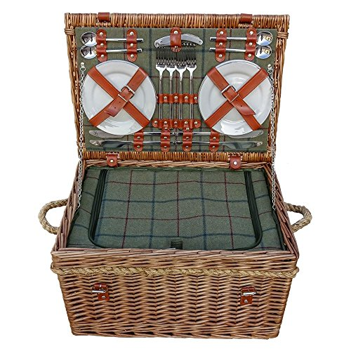 Red Hamper Burghley 4 Personnes Green Tweed Fitted Wicker Picnic Basket