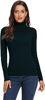 Avacoo Jersey de punto para mujer con cuello alto y manga larga