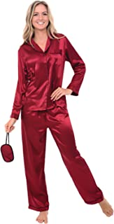 Alexander Del Rossa Women's Button Down Satin Pajama Set with Sleep Mask, Long Silky Pjs