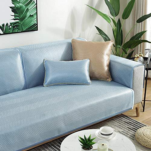YUTJK Cubierta de sofá de Verano Fresco Monocromo,Funda De Sofa Antideslizante Durable,Lavable Toalla De Sofá,Fundas De Sofa Sala Estar Apto para Niños Mascota Gato,Azul 2_90×210cm