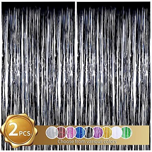 2er Pack Folienfransen Vorhang, Schwarz Lametta Metallic Vorhänge Foto Hintergrund für Hochzeit Verlobung Brautdusche Geburtstag Bachelorette Party Bühnendekor (3,28 ft x 6,56 ft)