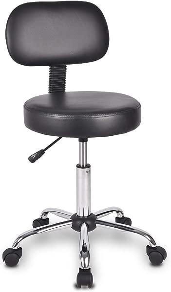旋转椅办公椅滚动旋转凳子带靠背和多用途可调 Spa 酒吧凳子带黑色轮子