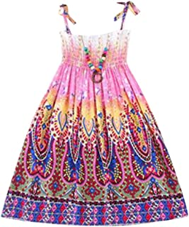 27f0ec73f40 LUBITY Fille Enfants Bohême Robe de Plage Longue en Vacances avec Bracelet Robes  Filles Été Cotton