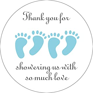 MAGJUCHE Blue It's Twins Thank You for Coming Baby Shower Stickers, Two Boys Little Feet Party Favor Stickers, 2 Inch, 40-...
