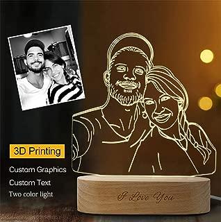 Foto personalizada Lámpara de cristal 3D Luz nocturna 2 Cambio de color RGB, Lámpara de mesa LED, Grabado de texto para regalos de Navidad