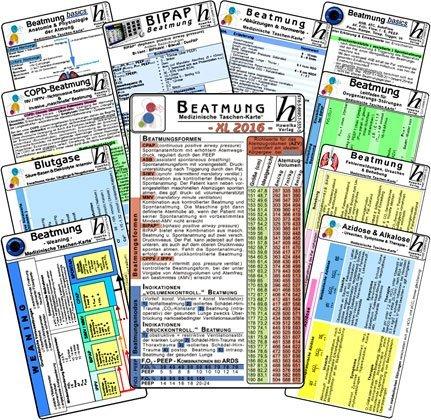 Beatmungs-Karten-Set XL 2016: Bestehend aus Beatmung - Grundlagen, Einstellungen u. Normwerte; Weaning; Fehlermeldungen und Ursachen; Abkürzungen; Blutgase; Azidose u. Alkalose; BIPAP, Anatomie u. Physiologie; Oxygenierungs-Störungen; COPD