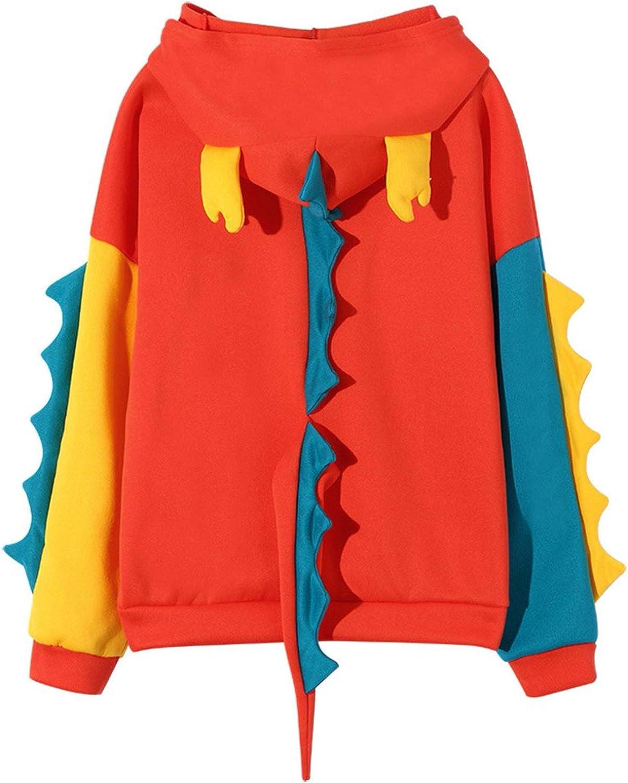 Cute Women's Dinosaur Hoodies Sweatshirts for Women Teen Girls Long Sleeve Color Block Cartoon Animal Hooded Pullover Top