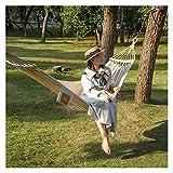 UWY Recreación Hamaca de Lona portátil Cuerda Ajustable Antivuelco Diseño de Barra Curva Hamaca de bambú con Bolsa de Transporte Regalo Ideal para Exteriores Regalos para Excursionistas