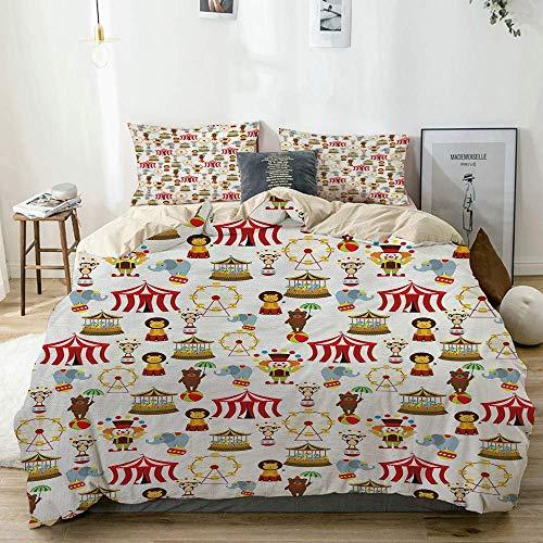Set copripiumino Beige, Circo Elefante Orso Scimmia Animali Merry Go Round Magic Classic Celebration Print, Set biancheria da letto decorativa 3 pezzi con 2 fodere per cuscini