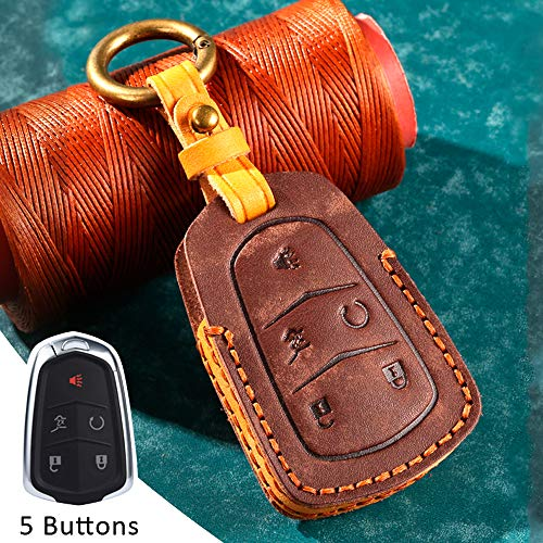 Key Fob Cover Case Remote Holder Skin Protector For Cadillac Escalade ESV XTS ATS CTS SRX CT6 ATS-L XT5 DTS STS ELR CT5 XT6 5 Buttons Leather Keyless Smart Key Fob (Brown)