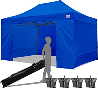 MasterCanopy Ez Pop-up Canopy Tent 10x15 Commercial Instant Canopies with 4 Removable Side Walls and Roller Bag, Bonus 4 SandBags (10x15 Feet, Blue)