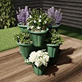 Pure Garden 50-LG5006 Stacking Planter Tower-3-Tier Space Saving Flower Pots, Hunter Green