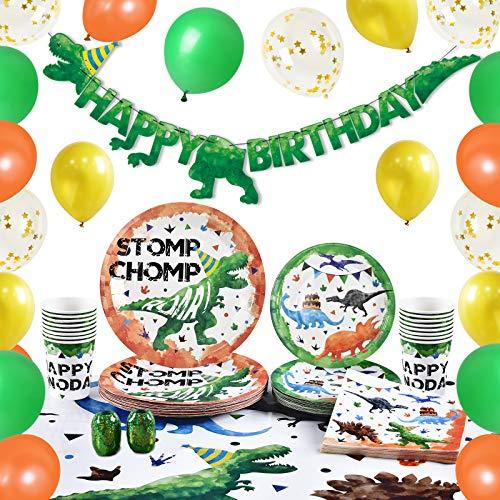 WERNNSAI Aquarell Dinosaurier Partyzubehör - Dino Geburtstag Party Dekoration für Jungen Geburtstag Banner Luftballons Teller Tassen Servietten Tischdecke Geschirr 16 Gäste 89 PCS