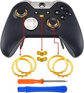 eXtremeRate Matte Chrome Gold Profile Switch Buttons Accent Rings Accessories Parts for Xbox One Elite Controller Pack of 2