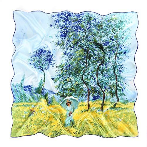 prettystern Damen 90cm 100% Seide Umschalg-Tuch Kunst-Druck Claude Monet Felder im Frühling P1815