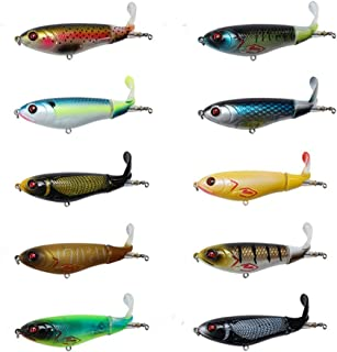 DOITPE Topwater Fishing Lures Whopper Plopper with Floating Rotating Tail Fish Bait Lures for Bass,Pike,Trout,Walleye,Musky in Freshwater and Saltwater