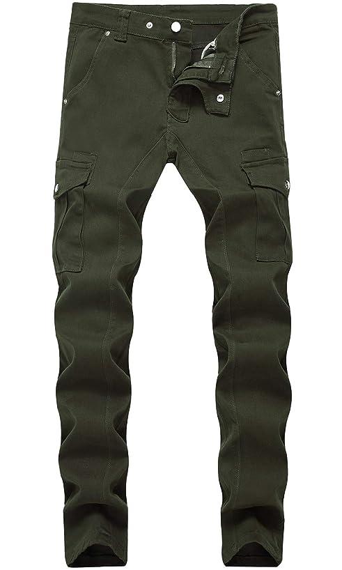 HENGAO Men's Moto Biker Slim fit Stretch Jeans with Side Pockets