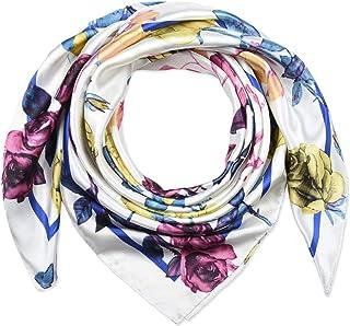 35 بوصة المرأة مربع الحرير يشعر الأوشحة وشاح الرأس للنوم الأبيض الزهور الملونة