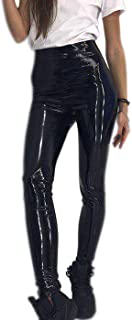 Womens Sexy Faux Leather Shiny Leggings Wet Look, High Waisted Metallic Stretch Pants Trousers