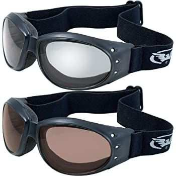 GV (2 Goggles) Motorcycle ATV Riding Clear Mirror and Driving Mirror Glasses Sunglasses