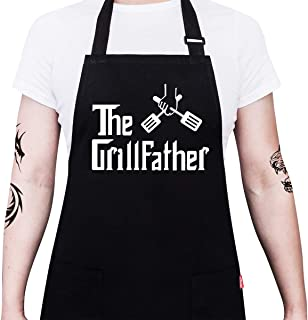 ALIPOBO BBQ Apron Funny Grill Aprons for Men Dad – The Grillfather – Men's..