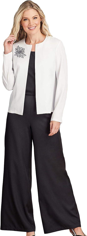 AmeriMark Women's Beaded Open Front Jacket Palazzo Pants and Dress 3-Piece Set One Color 22 Women