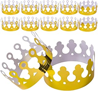 Kicko Paper Crown Party Hat - Pack of 12 Adjustable Golden Foil Headdresses for King Queen Dress-up Costume - Perfect for Prince or Princess Birthday Parties, Baby Shower, Photo Booth Accessories