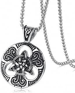 Men Lrish Celtics Trinitys Knot Pendant Necklace Stainless Steel Pendant Necklace Link Chain Necklace