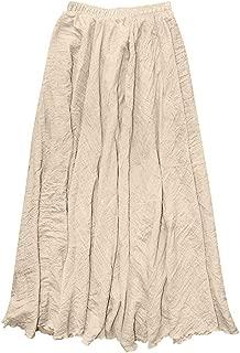 iLUGU Noble Maxi Dress for Women Bohemian Style Elastic Waist Band Cotton Linen Long Skirt