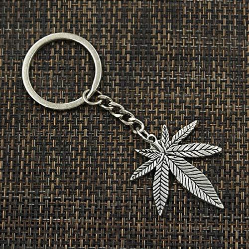 Cannabis Jamaika Hanf Schlüsselanhänger Hanfblatt silberfarben 4cm | Gras | Shisha | Bong | rauchen | Metall | Geschenk für Männer