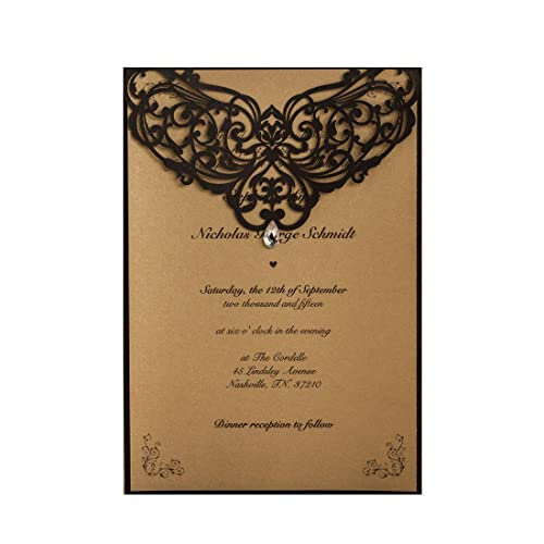 Wishmade 50x Vintage Printable Laser Cut Wedding Invitations Cards With Rhinestone Rustic For Engagement Quinceanera