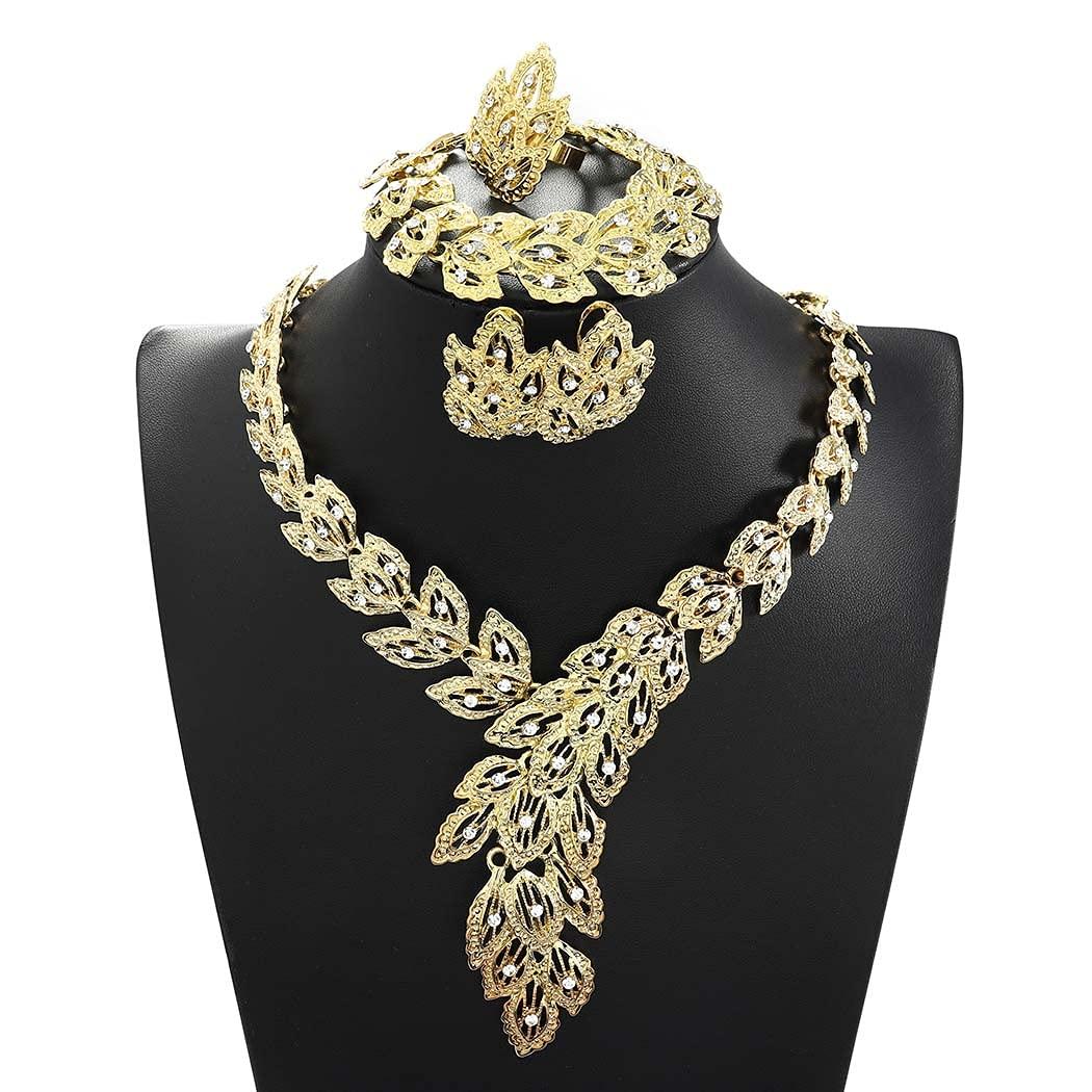 Campsis Gold Bride Wedding Statement Necklace Bridal Crystal Necklace Set Scarf Bib Style Neckalce Bracelet Earrings Ring Jewelry Set for Women
