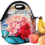 iColor Beautiful Flowers Insulated Neoprene Fashion Lunch Picnic Container Bag Box Tote Outdoor Travel Cooler Waterproof Soft Bag Lunchbox Handbag Case for Boys Girls School Office Work YLB-149