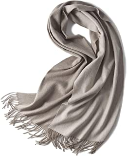 RONGJINGZHU Autumn and Winter Plush Scarf Female Double-Sided Solid Color Water Ripple Small Shawl Warm Scarf (Color : Gray)