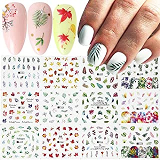 12 Designs Nail Art Stickers Lot Summer Green Leaf Watermark Decals Slider For Manicure Nail Art Decoration Wraps