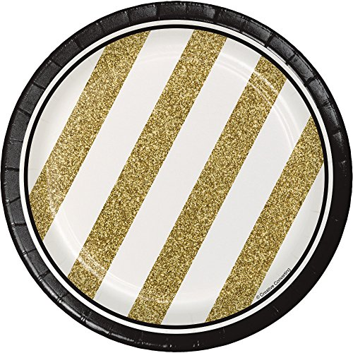 Creative Converting 8 Count Sturdy Style Paper Dessert Plates, 7, Black/Gold