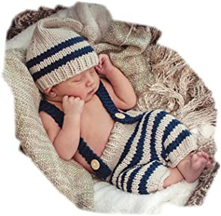 Fashion Cute Newborn Baby Photography Props Outfits Boy Girl Crochet Knitted Hat Pants