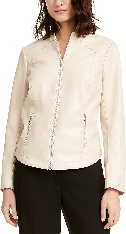Alfani Women's Faux-Leather Moto Jacket Beige Size Medium