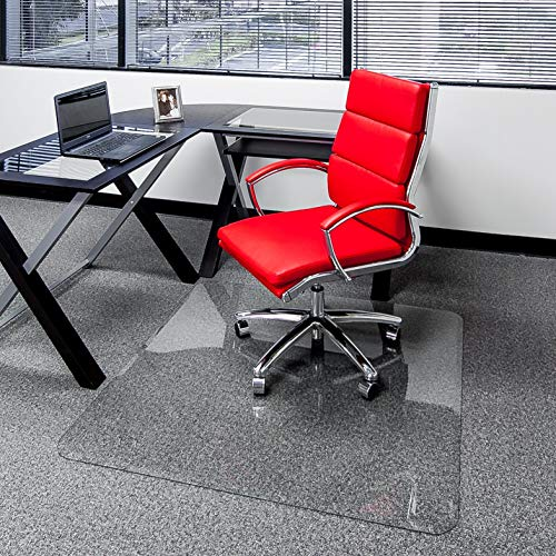 Clearly Innovative Glass Chair Mat with Beveled Edge, 36