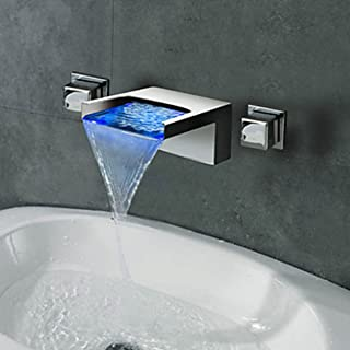 LightInTheBox Contemporary Wall Mounted Waterfall LED Color Changed Design Ceramic Valve Two Handles Three Holes Bathtub Faucet Bathroom Sink Faucet Chrome Finish Solid Brass