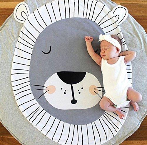 Nordic Ideas Tapis de Jeu Bebe Animaux Lion Coton Rond Tapis éveil Bébé Fille Garçon Decoration Chambre Enfant
