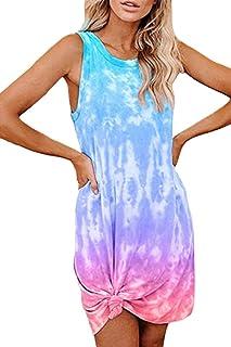 Fixmatti Women Tie Dye Sleeveless Dress Side Knot Mini Short Dresses M