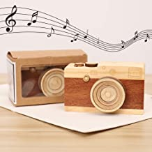 FUTUREPLUSX Wooden Music Box, Retro Wooden Camera Music Box for..